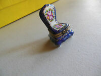 AUTHENTIC LIMOGES royal blue flower chair  bow clasp  france TRINKET BOX