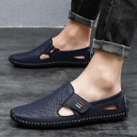 Men Hollow Out Slip On Loafers Driving Moccasins Casual Leather Shoes Beach Flat