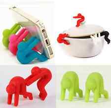 2PCS Small People Pot Spill-proof Cute Heat Resistant Lid Kitchen Tool Holder