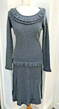 ARTIGIANO fine merino wool knitted grey skirt and jumper set - size UK 10