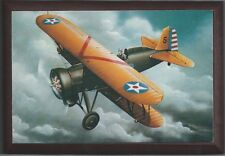 """4"""" X 6"""" Wooden Plaque with a Print of a Boeing P-12E WWI Pursuit aircraft ."""