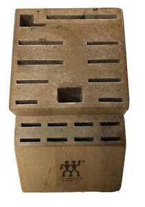 JA Henckels Solid Light Color Wood Knife Butcher Block Holder 19 Slot