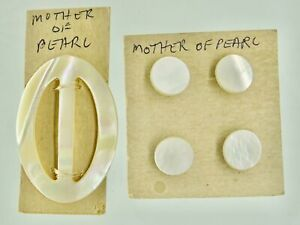 Antique Victorian Mother of pearl OVAL BELT / DRESS BUCKLE & 4 BUTTONS