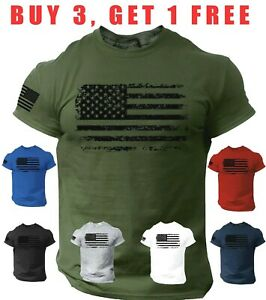 USA Distressed Flag T-Shirt Patriotic American Army Military Veteran men's Tee