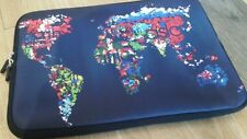 """13"""" Zip up laptop computer case. With World Map design."""