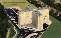Darlington Apartments Atlanta Georgia aerial view  ~ 1940s linen postcard