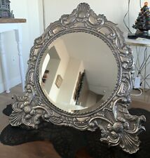 HUGE ENGLISH VICTORIAN STERLING SILVER VANITY MIRROR CHERUB ORNATE REPOUSSE