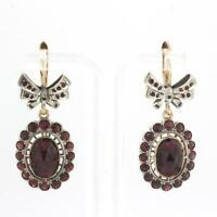 Vintage Checkerboard Garnet Dangle Drop Earrings 14K Yellow Gold 10.20 TW Ladies