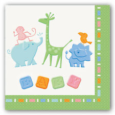 16 Unisex New Baby Shower Animal Crackers Disposable 2ply Lunch Napkins Party