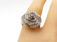 925 Sterling Silver - Topaz Gold Plated Flower Cocktail Ring Sz 8 - R16096