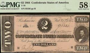 1864 $2 TWO DOLLAR CONFEDERATE STATES CURRCENCY CIVIL WAR NOTE T-70 PMG 58 EPQ
