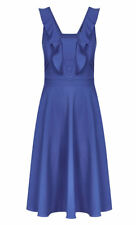 City Chic Blue V neck frill detail desk to dinner DRESS XS 14 NEW side zip
