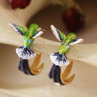 Elegant Dainty Porcelain  Hummingbird .925 Sterling Silver Post/Stud Earrings