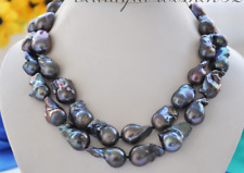 """two strands 25-28mm baroque black blue pearl necklace 18"""" 19"""""""