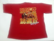 Wrangler Mens Xl Red Vtg Rodeo Ride It Or Lose It Graphic T-Shirt Usa Made