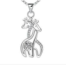 S925 Sterling Silver Couple Giraffe with Eternal Love Pendant, Cross Chain 18""