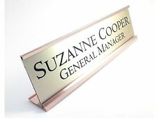 "Desk name plate gold look with gold color aluminum holder 2"" x 8"" personalized"