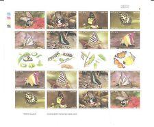 LAOS 2003 BUTTERFLIES SHEET WITH GUTTER MARGIN TWO SETS IN SHEET UMM