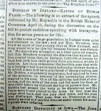 2 1848 newspapers GREAT IRISH POTATO FAMINE described EMIGRATION Ireland to US