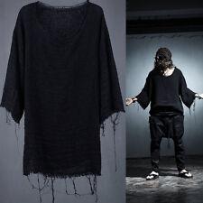 ByTheR Men's Cotton Black Bohemian Vintage Fashion Casual Gauze Loose T-shirts N