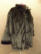 Gallery NEW Gorgeous Chevron Chocolate Sable Faux Fur Reversible Coat Sz 3X $398