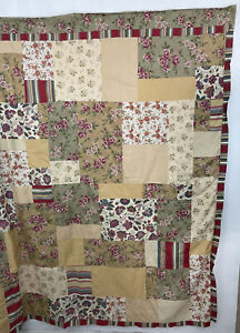 Keeco Patchwork Boho Shabby Cotton 72 x 72 Floral Stripe Square Shower Curtain