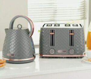 NEW - Diamond Design Beautiful Grey & Rose Gold kettle and 4 slice Toaster set