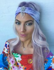 Purple Mermaid Diamond Tassel Dangle Turban Hair Head Band Choochie Choo Beach