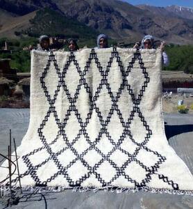 Vintage Moroccan Rug wool Handmade Beni Ourain carpet Berber 10ft x 7ft