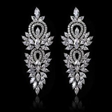 All Cubic Zirconia cz Pierced Earrings Wedding Party Prom Pageant 6.2cm Long