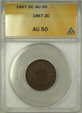 1867 Two Cent Piece 2c Coin ANACS AU-50