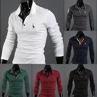 Summer Mens Long Sleeve Slim POLO Dress Shirt T-shirt Tops Luxury Tees Blouse