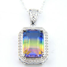 Rainbow Color Rectangle Bi Colored Tourmaline Vintage Silver Necklace Pendants
