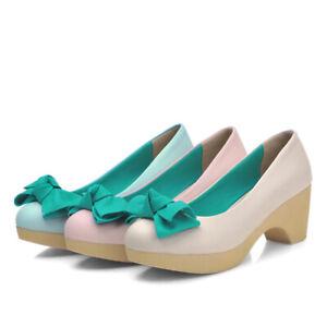 Women's Sweet Round Toe Bowknot Pumps Block High Heel Platform Party Shoes