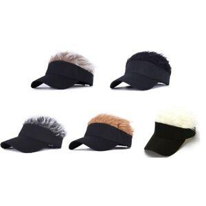 Men Women Fake Flair Hair Hats Baseball Outdoor Sports Golf Visor Wig Hat Cap