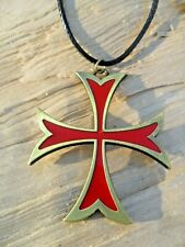 Knights Templar Cross Red/Gold Pendant & Black Waxed Cord Choker Necklace NEW