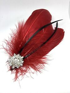 Silver Red & Silver Feather Fascinator Headpiece Diamante Hair Clip Vintage