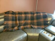Avoca Handweavers 100% Wool Blanket Black Brown Plaid 50x60 Ireland Throw Wrap