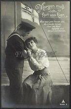 AK Postcard 1915 Army Soldiers Sailor Matrose Meer Ships Post Feldpost WWI (29)