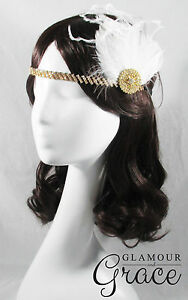 Charleston vintage gatsby 1920s costume white feather hair accessory headpiece