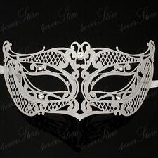 Uni-sex Women Light Metal Laser Cut Masquerade Mask with Diamonds M7132 [White]