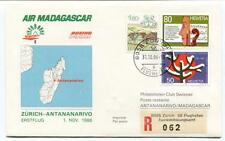 FFC 1986 Air Madagascar First Flight Zurich Antananarivo REGISTERED Flughafen