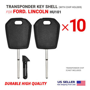 10X Transponder Key Shell Case For Ford, Lincoln With Blade HU101 W/ Chip Holder