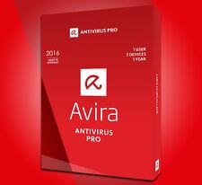 GENUINE Avira Antivirus Pro 2017 1 year 3 PC licence key