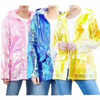 Womens Holographic Waterproof Zipped Neon Festival Jacket Mac Parka Raincoat