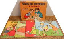 Vintage 1950 Stick'Em Pictures to Push Out 4 Books #126 The Platt & Munk Co.