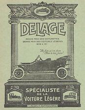 Z8305 Voiturette DELAGE - Pubblicità d'epoca - 1914 Old advertising