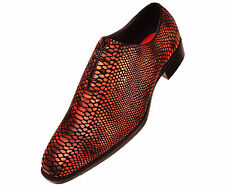Bolano Mens Shaded Red Exotic Faux Snake Skin Print Oxford : Seabrook-005