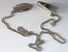 """Napkin Serviette Bib Holder Handy 19"""" Silvertone Chain In Bag Clip Round Neck UK"""