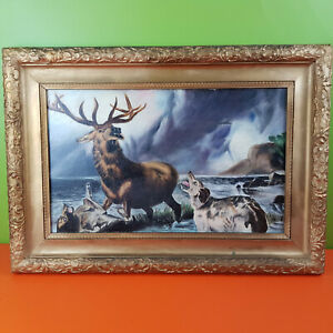Scottish Highland Stag and Dog Original Antique Oil Painting on Canvas Framed.